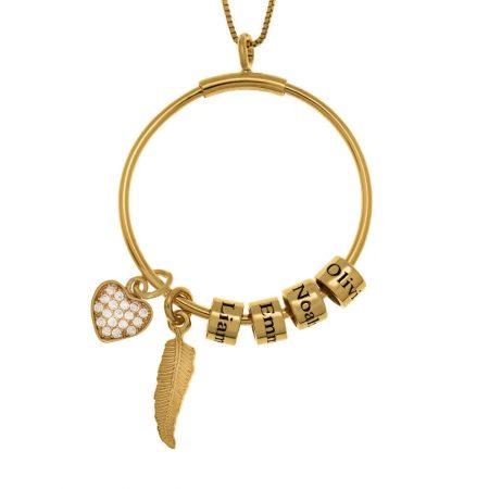Collier Cercle avec Perles Porte-Prénom, Plume et Cœur Incrusté