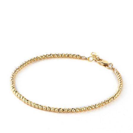 Bracelet avec Perles en Or et Diamants Découpées au Laser