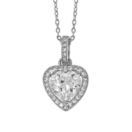 Collier avec Pendentif en Forme de Cœur et Cristal Scintillant
