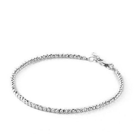 Bracelet avec Perles en Argent et Diamants Découpées au Laser
