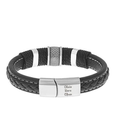 Bracelet en Acier Inoxydable et Cuir avec fermoir Magnétique pour Hommes