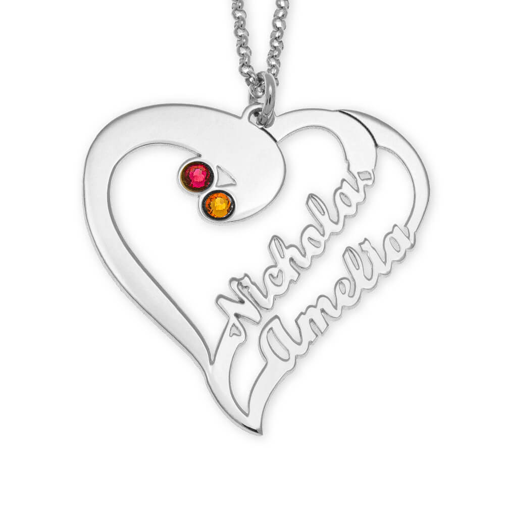 Cut Out Heart Necklace For Couples silver