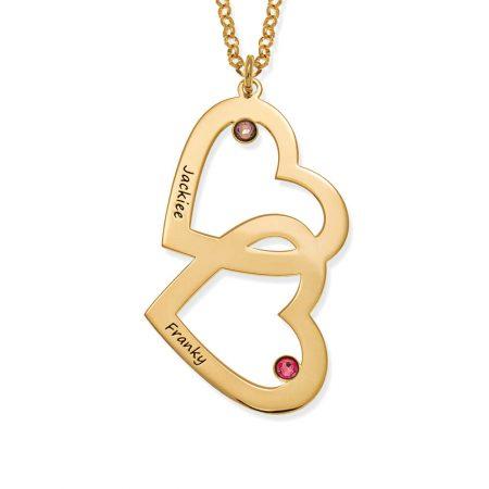Collier coeur en coeur avec pierres de naissance
