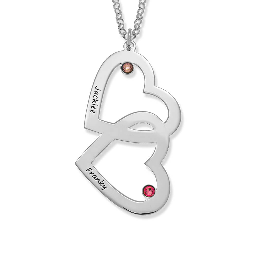 Heart in Heart with Birthstones Necklace silver