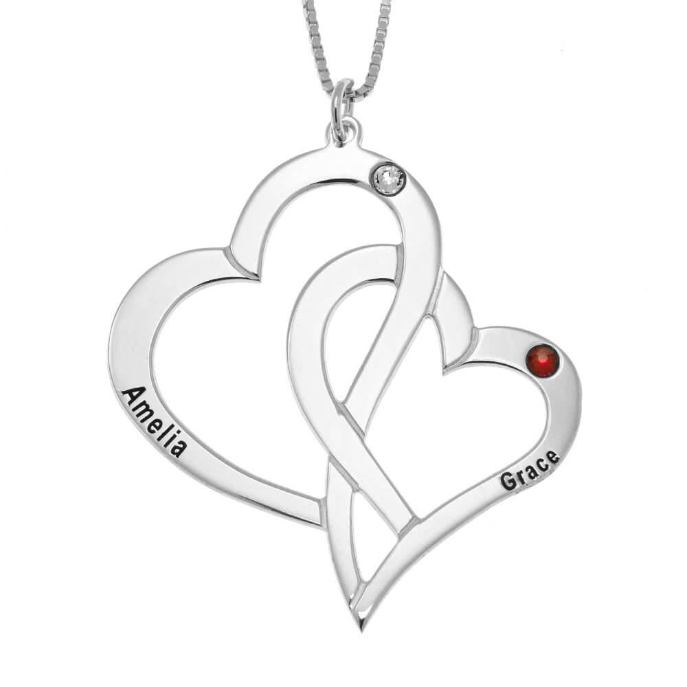 Interlocking Hearts and Birthstones Necklace silver