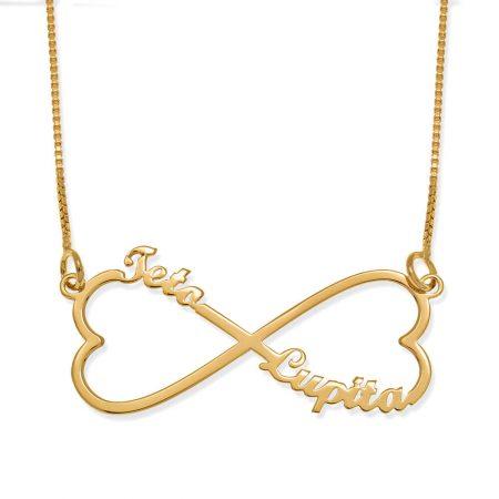 collier personnalisé à deux noms avec un cœur infini