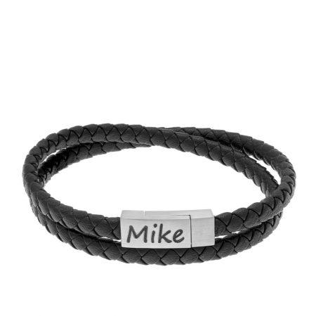 petit bracelet pour homme à graver en acier inoxydable et cuir noir