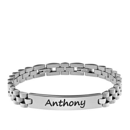 bracelet en acier inoxydable gravé personnalisé pour homme