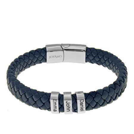 Bracelet en cuir pour homme avec perles prénom ovales